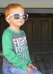Day 53, Feb 22. 70 degrees in February. (mickifries) Tags: 365project familylife candidchildhood kids littleboys boys sunglasses springisintheair spring redhair boyhood