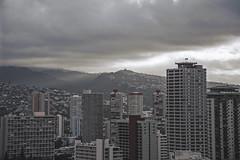 Downtown Honolulu (hitmanfre1) Tags: nikon d3200 nikond3200 sun sunrise clouds cloud cloudporn city cityscape downtown honolulu oahu hawaii building orange red pacific view