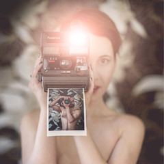 Polaroid Love (Janos Kerekes) Tags: polaroid girl camera love nude vintage polaroidcamera 636 closeup portrait female male man photography couple photographer photo photograph dof bokeh selfie naked woman self