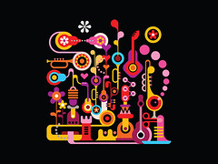 Music City (danjazzia) Tags: music festival vector art illustration abstract jazz guitar sax saxophone design graphic concert factory party isolated flower piano pianokey bizarre carnival sound artdesign shape figure fantastic background retro vintage heart night city musiccity abstractcity abstractart holiday pop blackbackground unreal strange