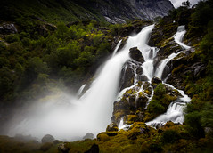 Waterfall close to Briksdalsbreen - Norway (nicolaspika) Tags: olympus traveller landscape lovely nature vacation holiday landscapephotography norway trees briksdal waterfall longexposure trip moss travelphotography travel mountain sognogfjordane no