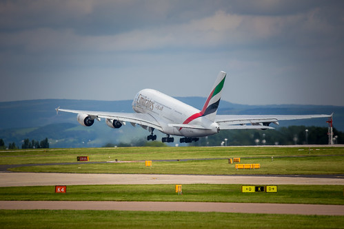 Emirates A380 taking off at Manchester Airport