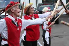 Morris Dancers (Linda Cronin) Tags: flowers red summer woman white man english happy sticks dancing traditional hats