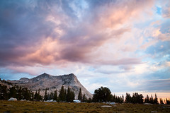 Sunset at Vogelsang (Eric_X) Tags: blue sunset camp mountain clouds landscape golden high purple peak sierra backpacking yosemite hour backcountry sierranevada vogelsang