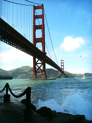 Crash n' Splash (BenitaMarquez) Tags: ocean sanfrancisco california bridge blue red white tower wet water northerncalifornia clouds coast rocks waves gull tide salt cable spray h2o chain goldengatebridge salty bayarea historical norcal splash westcoast barge attraction ftpoint