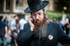 Portrait of a Jew for Palestine (Sven Loach) Tags: uk portrait england london beard demo israel media britain protest photojournalism cell badge bbc mobilephone jewish portlandplace gaza reportage freepalestine bias 2014 hasidim ultraorthodox haredi bbcoffices
