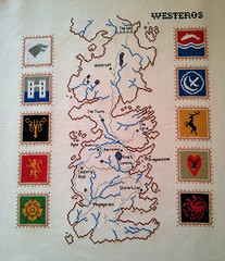 Map of Westeros with house sigils cross stitch (Game of Thrones) (jen_random) Tags: crossstitch geek crafts got westeros gameofthrones songoficeandfire geekcrafts