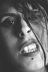 Expression (Ekin Can Bayrakdar Photography) Tags: portrait bw white black hot sexy eye girl mouth hair emotion expression teeth lips vamp grl