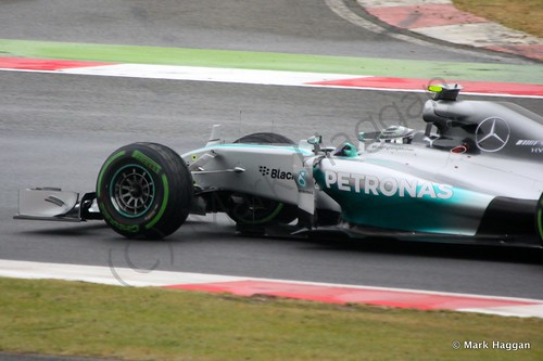 Nico Rosberg in his Mercedes during qualifying for the 2014 British Grand Prix