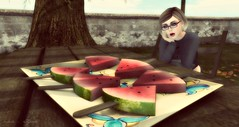hmmm... juicy melons O.O (Μαῖα Athēnâ) Tags: summer nerd fruits shopping geek watermelon sl secondlife eyeglasses melon uber zigana
