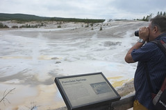 Influencing a Landscape (susan catherine) Tags: sign nationalpark photographer yellowstone cloudyday x100 porcelainsprings