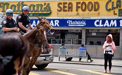 Near Nathan's (PAJ880) Tags: nyc horses smile is surf famous police pedestrian ave coney nathans stillwell