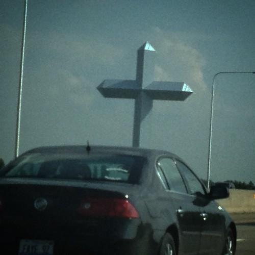 The cross at #effingham  Can you see it on #googlemaps ? #tekkbabe859 #roadtriptoaz #blondebetweenthemountains