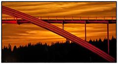 Rainbow Bridge at Moonset (sunrisesoup) Tags: orange washington skagit moonset rainbowbridge laconner sunrisesoup f64g63r1win