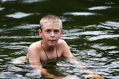 Found  A  Cold Spot (wyojones) Tags: boy water swimming swim river expression isaac canyon yellowstonenationalpark yellowstone wyoming colder firehole fireholeriver swimmingarea wyojones