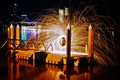 waterfire2 (isaacbetteridge) Tags: city longexposure light red urban white black color colour water skyline night fire photography photo cool interesting view brisbane colourful pylons picturesque refelction toowoombanight