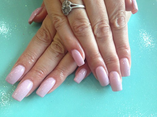 Acrylic nails with baby pink gelish gel polish