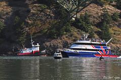 2014-08-25 Dunlap Tug Vulcan & Victoria Clipper III (1024x680) (-jon) Tags: anacortes fidalgoisland sanjuanislands skagitcounty islandcounty oakharbor pugetsound washingtonstate salishsea deceptionpass tugboat tug dunlap portgardner vulcan passisland lograft logboom deceptionpassbridge victoriaclipperiii catamaran low tide slack current ebbtide a266122photographyproduction lowtide boat ship vessel bridge pacificocean pacific ocean pacificnorthwest northwest pnw tow towboat marine