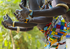 Women From Anuak Tribe In Traditional Clothing Dancing, Gambela, Ethiopia (Eric Lafforgue) Tags: africa people man horizontal hair outdoors person photography dance costume clothing day hand dancers singing adult dancing african sudan border ceremony culture dancer tribal jewellery sing bracelet ritual ethiopia adultsonly anthropology indigenous adornment humaninterest hornofafrica ethiopian ceremonial traditionalclothing threepeople colorpicture gambela anuak gambella anyuak colourpicture agnwak anywaa ethiopianethnicity ethio1402130