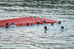 floating peers (Gveronis) Tags: water swim boat prague accident praha float dragonboats concur voltava