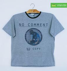 เสื้อยืดแฟชั่นผู้ชายอ้วนสีเทาทอปลายพิมพ์ลาย 012