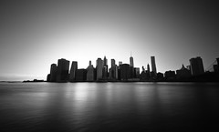 Financial Silhouettes (JoeyHelms Photography - Thx to 10.000 Followers) Tags: world new york city bridge blue sunset sky usa mist abstract tower art water skyline architecture brooklyn clouds buildings river grey freedom long exposure joey 10 manhattan center stop filter nd ropes trade milky helms density lightroom neutral 10stop joeyhelmsphotography