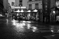 Montmartre Cafe (Electrolyte) Tags: paris rain night cafe montmartre cobblestone pigalle