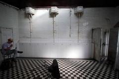 Man TV Urinals (Benn Gunn Baker) Tags: trees white man black art forest canon bristol tv gallery doors baker open tiles fallen erik haugen urinals edwardian benn bjrn gunn cloakroom 550d t2i sthashyrsevxc9dpuf