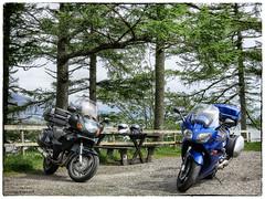 Break Time (roddersdad) Tags: mountains scotland isleofskye may motorcycles motorbikes 2014 motorcyclehelmets canonpowershots100 yamahafjr1300 hondamotorcycles wwwimagesbyclivecouk copyrightclivejmaclennan hondant650deauville