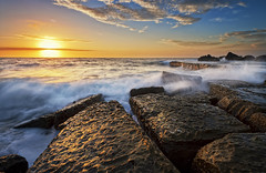 Rock texture (Chay TALANON) Tags: morning seascape beach sunrise sydney wave australia nsw forresters