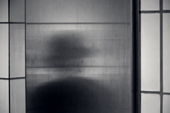Phantom (Revisited) (JeffStewartPhotos) Tags: blackandwhite bw toronto ontario canada reflection mystery subway blackwhite cloudy ttc spooky photowalk mysterious translucent phantom toned quick subwaystations nearby line2 limitedtime bloordanforth bloordanforthline torontophotowalk brushedchrome topw torontophotowalks topwttcc1 ttcchallenge kiplingtokennedy