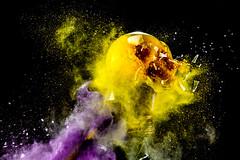 Partly Cloudy (WideEyedIlluminations) Tags: highspeedphotography jonsmithphotography wideeyedilluminations lightbulb chalk dust yellow purple explosion exploding