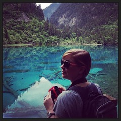 #jiuzhaigou #china: crystal clear blue lakes, perfect reflections. this picture doesn't do it justice.