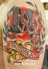 Skinhead Tattoo (Flaming Art Tattoo) Tags: uk colour london art tattoo kent arm skin boots tattoos lettering bexley scroll skinart crayford skinhead dartford tattooing tattooed tattood knuckleduster skinink