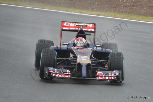 Daniil Kvyat in his Toro Rosso during Free Practice 3 at the 2014 British Grand Prix