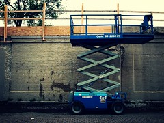 Scissor Lift (jjsnyder5) Tags: chicago brick wall construction alley lift cement rail trail repair elevated scissor genie 606 bloomingdale
