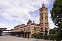 Toledo (España), Estación de ferrocarril (ipomar47) Tags: españa station clouds spain pentax railway toledo nubes estación k5 ferrocarril renfe mudejar neomudejar