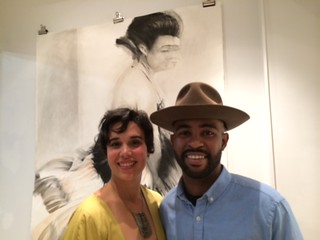 Artists Patty Suau with Mwanel Pierre-Louis at the arts Festival Gallery opening