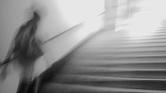 (*_**_*_*_) Tags: street light people blackandwhite bw motion blur monochrome station stairs subway experimental grain flare provoke antipastel