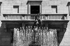 Courtyard Centerpiece (Gabriel Mirasol) Tags: city travel bw usa white black building water boston architecture contrast america 35mm lens prime nikon massachusetts united states nikkor 18 dx d5200