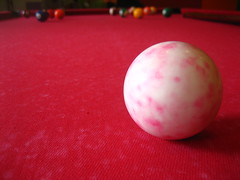 Red Pool Table & White/Pink Cue Ball Macro (Iwan Gabovitch) Tags: red billard billiard redbackground
