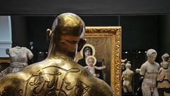 Golden Man (Theen ... busy) Tags: baby man art metal wall tattoo bronze dark neck grey child christ head muscular madonna statues samsung halo frame adelaide shoulders ornate burnished gilden theen artgalleryofsouthaustralia