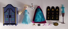 Elsa Mini Doll Wardrobe Set - Disneyland Purchase - Deboxed - Contents Laid Out  - Full Front View (drj1828) Tags: california set frozen us disneyland merchandise wardrobe anaheim purchase dlr elsa disneystore snowqueen 5inch deboxing minidoll