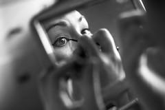 Eye (TGKW) Tags: portrait people blackandwhite bw woman reflection eye girl mirror eyelashes sister makeup hong kong annie mascara 0097