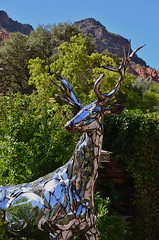 Let's Go Stag (MPnormaleye) Tags: red arizona cliff mountain southwest art beautiful statue stag desert sedona deer chrome utata majestic