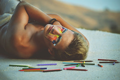 Oscar I (DanielCartwright.) Tags: portrait color colour male fashion pencil rainbow eyes head makeup crayon