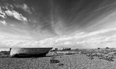 old boats on Dungeness Beach B&W [Explored 15 September 2014 ] (c.richard) Tags: blackandwhite boats coast kent fishing coastal dungeness fishingboat seashore bigskies