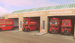 Harrow Weald bus garage diorama (kingsway john) Tags: kingsway models card kit diorama harrow weald bus garage 176 scale model rt hd londontransportmodel oo gauge miniature