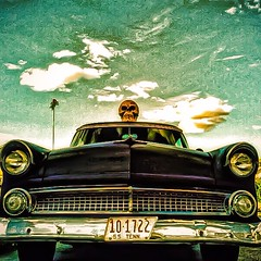 '55  DeathMobile (Baky) Tags: art ford 1955 halloween car japan metal clouds skull weird kitsch wacky deathmobile cartoonish iphone barky   wowiekazowie iphoneography baky barkyvision