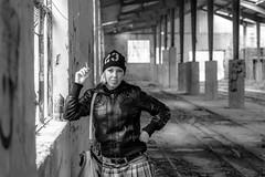 Roberta cool (tarjangz) Tags: roberta cool woman girl sexy leather hat abandoned factory hall